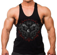 Men's Ying Yang Dragon Stringer Tank Top T-Shirt Mystic Magical Chinese Meditate
