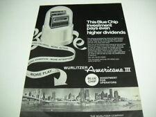 WURLITZER Americana III Jukebox original 1969 Promo Poster Ad BLUE CHIP INVEST.
