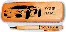 Lamborghini Aventador Maple wood Pen & Case Engraved
