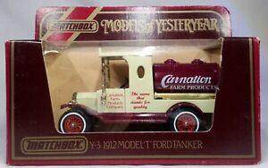 Models of Yesteryear Y-3 1912 Ford Model T Tanker Carnation Farm Matchbox 1981