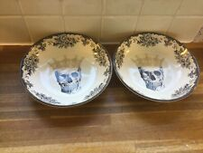 More details for royal stafford skulls queen pasta bowls x2.new.halloween.