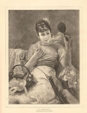 1884 ANTIQUE PRINT-ART-A COQUETTE BY LEON HERBO