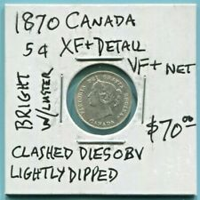 CANADA - BEAUTIFUL HISTORICAL QV SILVER 5 CENTS, 1870, KM# 2