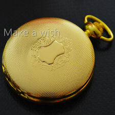 Xmas Luxury Gold Tone Style Classic Skeleton Mechanical Men Roma Pocket Watch