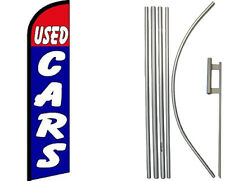 Used Cars Red Blue Windless Banner Flag & 16ft Flagpole Kit / Ground Spike