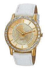 Esprit Carmel oro White es104512003 señora de cuero blanco reloj de pulsera con pedrería nuevo