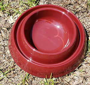 Ant Proof Pet Dish for Dogs Cats Pets Anti Bug Bowl Pest Free Maroon TWO PACK