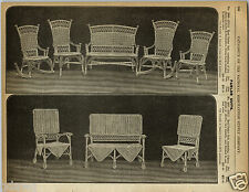 1892 PAPER AD Early Vintage Rattan & Reed Parlor Patio Outdoor Furniture Couch