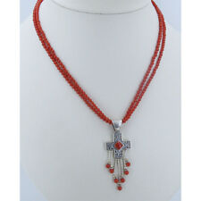 3 Strand 925 Sterling Silver Filigree Heart Cross Red Orange Coral Necklace