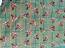 Cotton Fabric Fat Quarter quilting Celtic Highland Cow head on green
