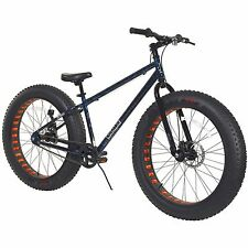 "26"" Men's Fat Tire Mountain Bike Blue Steel Frame All Terrain Beach Bicycle New"