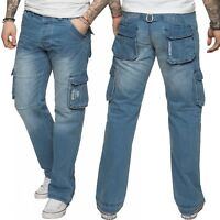 New Enzo Mens Designer Cargo Combat Work Jeans Blue Denim Pants All Waist Sizes