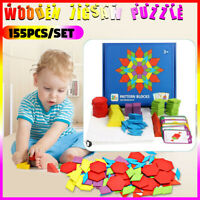 155Pcs/Set  Wooden Jigsaw Puzzle Games Montessori Educational Toys For Kids Gift