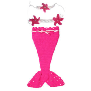 Newborn Baby Girl Kids Mermaid Princess Knit Clothing Photography Studio Props