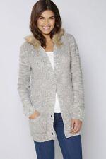 Studio 24 Faux Fur Hooded Button Cardigan Grey Size UK 12/14 LF084 EE 09
