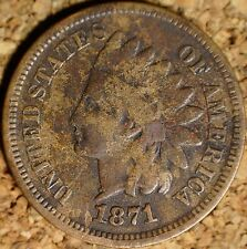 1871 Indian Head Cent - VG KEY COIN, REPUNCHED DATE (K818)