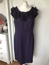 M&s per Una Womens Purple Capped Sleeve Shift Dress Size 16