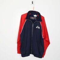 Vintage 90s ASICS Big Logo Zip Up Tracksuit Jacket Blue Red | Large L