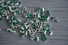 Emerald Swarovski 7x5mm Rhinestones in Sew On Settings, 72 pieces, #4600 K827