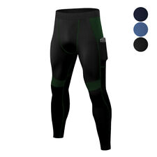 Mens Compression Long Pants Tights Workout Sport Baselayers with Phone Pocket