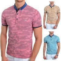 Mens Camo Polo T Shirt Vivid Colour Denim Collar Cotton Summer Size S , M ONLY