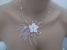 Collier original Blanc/Gris/Cristal Rouge robe Mariée/Mariage/Cérémonie fleur