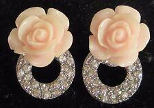 PINK ROSE rhinestone center FLOWER earrings pierced molded plastic EUC