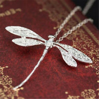Vintage 925 Silver Wedding Party Dragonfly Necklace Pendant Chain Jewelry Charm
