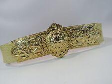 JUDITH LEIBER Gold Tone Metal ETRUSCAN BUCKLE Ivory Snakeskin Belt Dust Bag HC