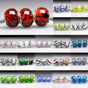 5/10pcs Murano Glass Round Beads Lampwork Charm For European Bracelet Lots PWLB3