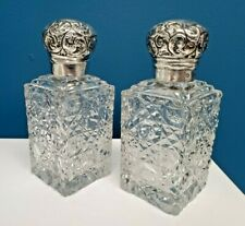 Pair Antique British 1897 Crystal Sterling Silver Perfume Scent Cologne Bottles