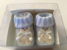 IVORY Baby Boys Knit Booties with Felt Bear Light Blue  Cotton 0-3 Months $35
