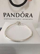 💕New Genuine 17cm Pandora Silver Moments Heart Clasp Bracelet 590719 RRP £55