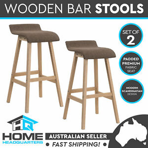 2x Brown Wooden Kitchen Bar Stools Chair Dining w/ Fabric Padded Seat Cafe NEW