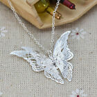 NEW Women Fashion Jewelry Silver Plated Openwork Butterfly Necklace Pendant YK