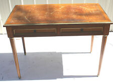 Antique French Louis XVI Style Leather Top Writing Desk with Fluted Tapered Legs