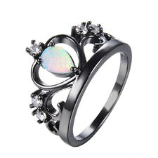 White Fire Opal Princess Crown Wedding Band Ring Black Gold For Women Size 5-12