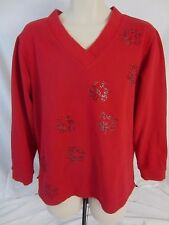 Quacker Factory Pull Over Embellished Red Long Sleeve Sweatshirt  Women's L CB6R
