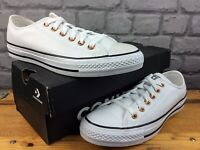 CONVERSE LADIES UK 6 EU 39 AS OX LOW TOP LEATHER TRAINERS WHITE ROSE GOLD M