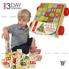Wooden Alphabet Blocks Educational Toys Learning Toddlers Baby Development Activ