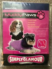 Brand New X-Small Ancol Muddy Paws Chenille Glamour Knit Lilac Dog Coat