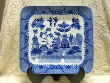 BLUE WILLOW SQ TURKEY HAM PLATTER TRAY ORIANTAL CHINESE JAPANESE PAGODA ASIAN