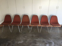 HERMAN MILLER Eames Vintage 1975 Orange Fiberglass Side Shell Chairs (SET of 6)