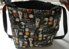 Beer Connoisseur Tote Bag-Black Background-Machine Quilted-Hand Made