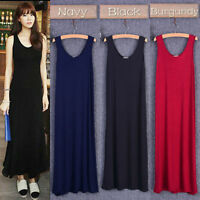 Lady Modal A Line Long Vests Dress Sleeveless Baggy Casual Home Beach Tank Dress