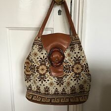 Vintage 1970s Brown Tapestry Carpet Bag Hoppe Boho Gypsy
