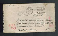 1943 Seattle USA Cover to Prisoner of War POW to Japan Shanghai CAmp Arne Astad