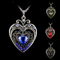 Fashion Retro Love Rhinestone Wedding Crystal Women Necklace Heart Pendant Hot