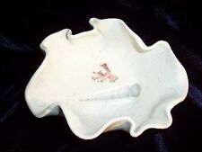 FOSSIL ART Pottery BOWL Free Form White Artist Signed Shells by MARI Vintage