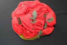 VINTAGE 1960'S GREEN VELVET ROSES AND FOLAGE HAT BY ELVERIA ST. LOUIS  SIZE 7